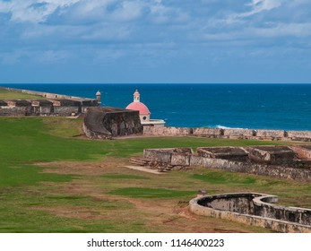 old fortification and domed church on sea, Puerto Rico