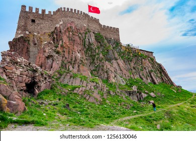 The old fortress of Ankara, also known as Ankara Kalesi, with the flag of Turkish Republic over it