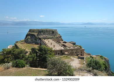 The Old Fortress of Corfu's barracks and Castel by the Sea Peak with Ionian Sea at the background, Kerkyra, Corfu Island, Greece, Europe The Old Fortress of Corfu is a Venetian fortress.