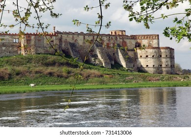 The old fortress built on the bank of the river in Medzhybizh, Khmelnytskyi region in Ukraine.