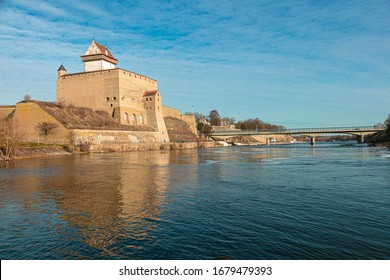 Old fortress by the river Narva. Awesome view of the castle.