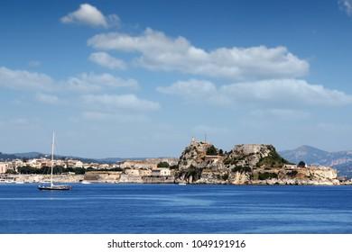 old fortress Corfu town cityscape summer season