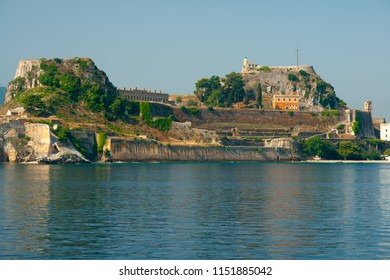 The Old Fortress in Corfu town with the sea in the front, Corfu island, Greece