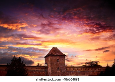 Old fortress at the evening with dramatic sky