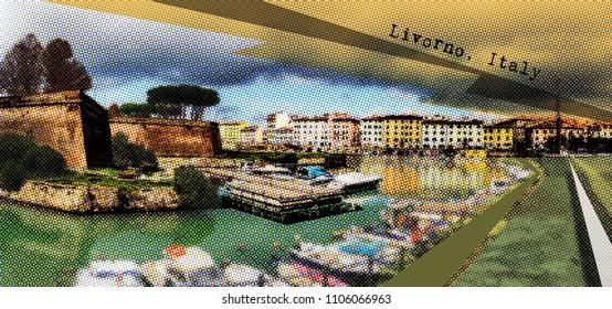 Old Fortress  of Livorno, retro postcard