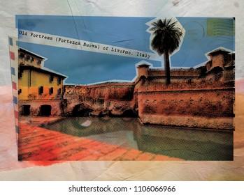 Old Fortress of Livorno  , retro postcard