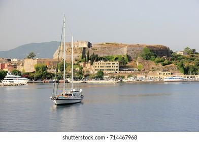 Old Fortress, Part of the defenses of Corfu City. Corfu island, Ionian Sea, Greece.