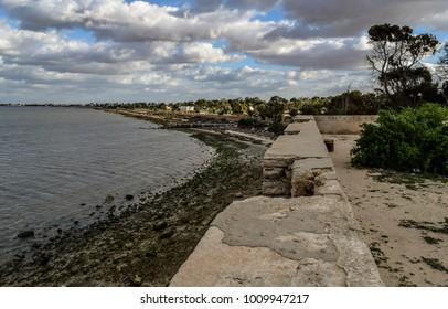 Old fortress ruins. Mediterranean sea coast in Northern Africa. Tunisia, Djerba island. Fort Ghazi Mustapha