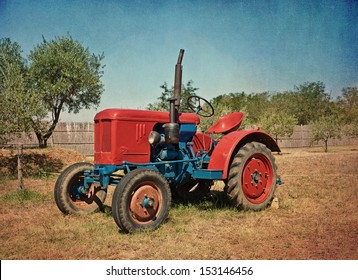 old foto, old tractor - no trademark