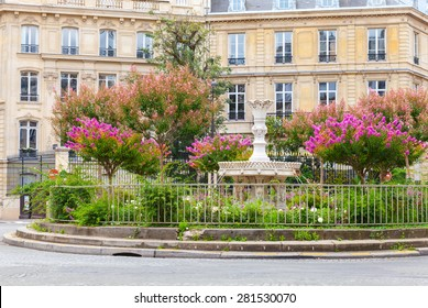 Old fountain and colorful flowers, Place Francois 1er, Paris, France