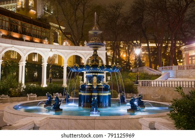 The old fountain in the former Governor's park (Vahid's Park) in night illumination. Baku, Azerbaijan
