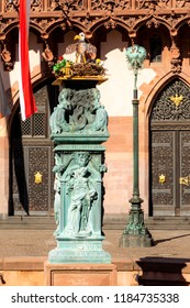 old fountain at roemer with an provisional artifical stoch nest and allegory figures from the 19th century