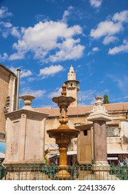 old fountain in the square Muristan in Jerusalem
