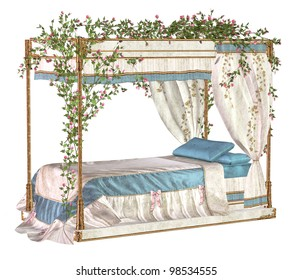 Old four-poster bed