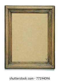 Old frame with an empty cardboard isolated on white