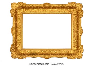 old frame gold on a white background