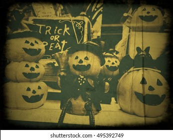 Old frame Halloween pumpkin
