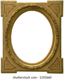 Old frame isolated and carved in wood from an old painting