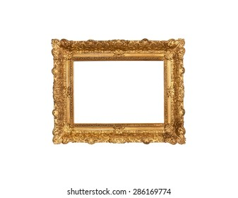 An old frame nineteenth century wood base plaster carvings and gold leaf on white background