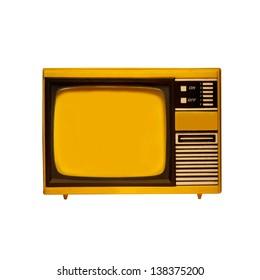 old frame television with isolated white background