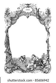 """Old frame - vintage engraved illustration - """"journal de la famille"""" by Firmin-Didot et Cie in 1882 France"""