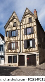 Old framed house in Auxerre in Burgund in France