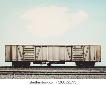 old freight trian with cargo container in vintage style
