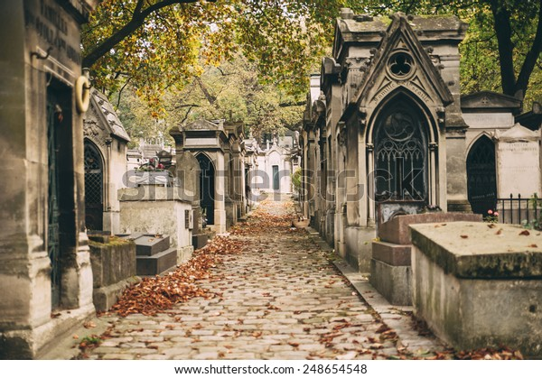 old french cemetery in autumn