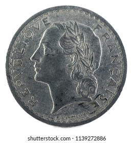 Old French coin. 5 Francs. 1949. Obverse.