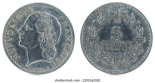 Old French coin. 5 Francs. 1947.