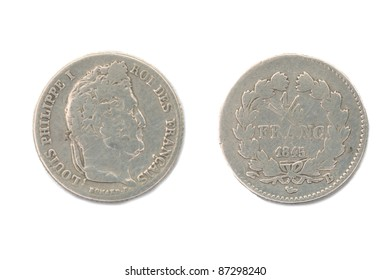 Old french coins, 1/4 FRANC 1845, ROI DES FRANÇAIS, LOUIS PHILIPPE I, both sides