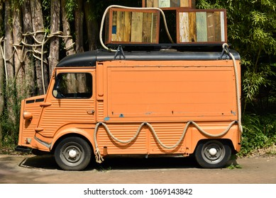 Old French Panel Van. Left side view of a vintage foodtruck.