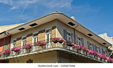 Old French Quarter Building with Balcony with Flowers