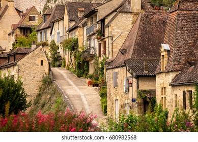 Old french street. Village of Beynac-et-Cazenac. Perigord, Dordogne, France