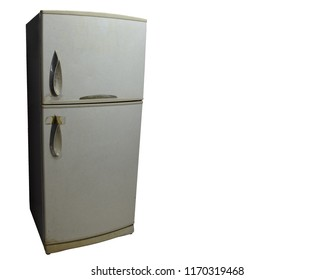 Old Fridge refrigerator isolated on white background with clipping path
