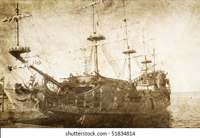 Old frigate. Photo  in vintage image style.