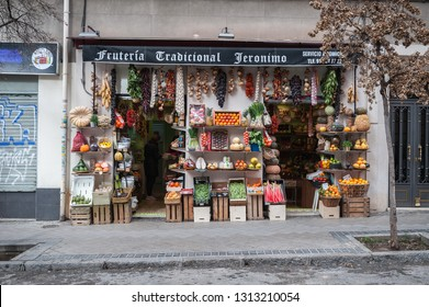 Old fruit shop with the genre exposed in its exterior, captured in the city of Madrid, Spain, the day 31 of January of 2019