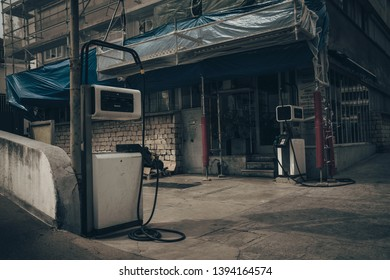 old fueling station retro style