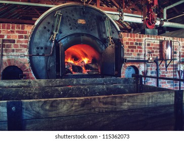 the old furnace with fire