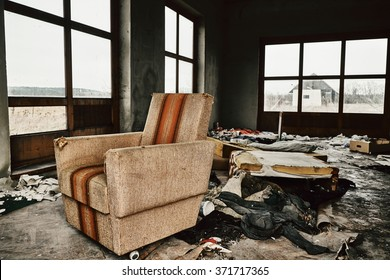 Old furniture in abandoned room