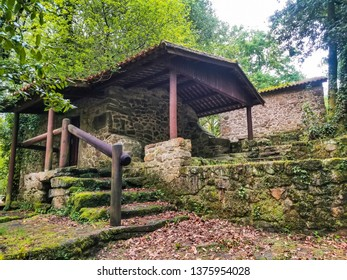 Old galician watermill on the stone and water route in Meis, Galicia, Spain