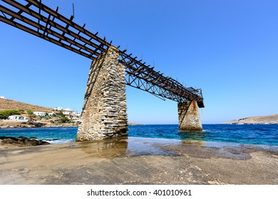 Old gantry at Loutra, Kythnos, Greece for loading iron ore from the mines