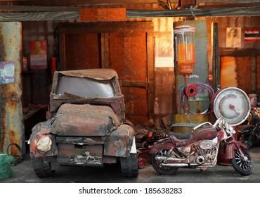 Old garage, old car, old motorcycle