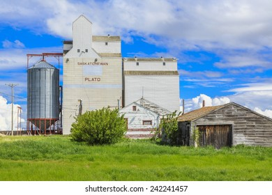 An old garage or shop by the grain elevator in the small town of Plato, Saskatchewan, Canada.