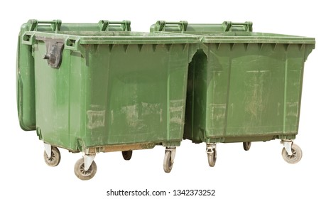 old garbage containers isolated over white background