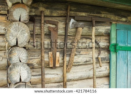 Old Garden Shed Hanging With Gardening Tools