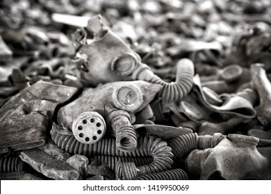 Old gas masks in abandoned building in Chernobyl Exclusion Zone, Ukraine