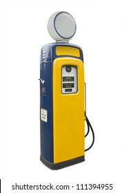 Old gas pump in yellow and blue, isolated