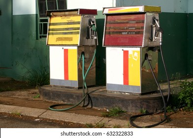 Old gas pumps or petrol pumps in South Africa