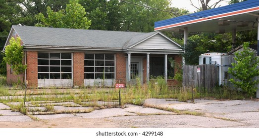 Old Gas Station, Abandoned and Overgrown